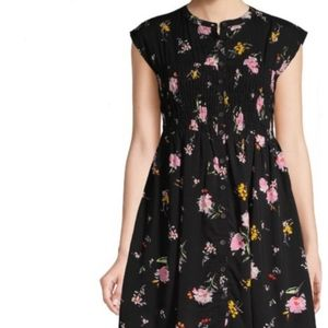 Free People Floral Smocked Button Up Midi Dress